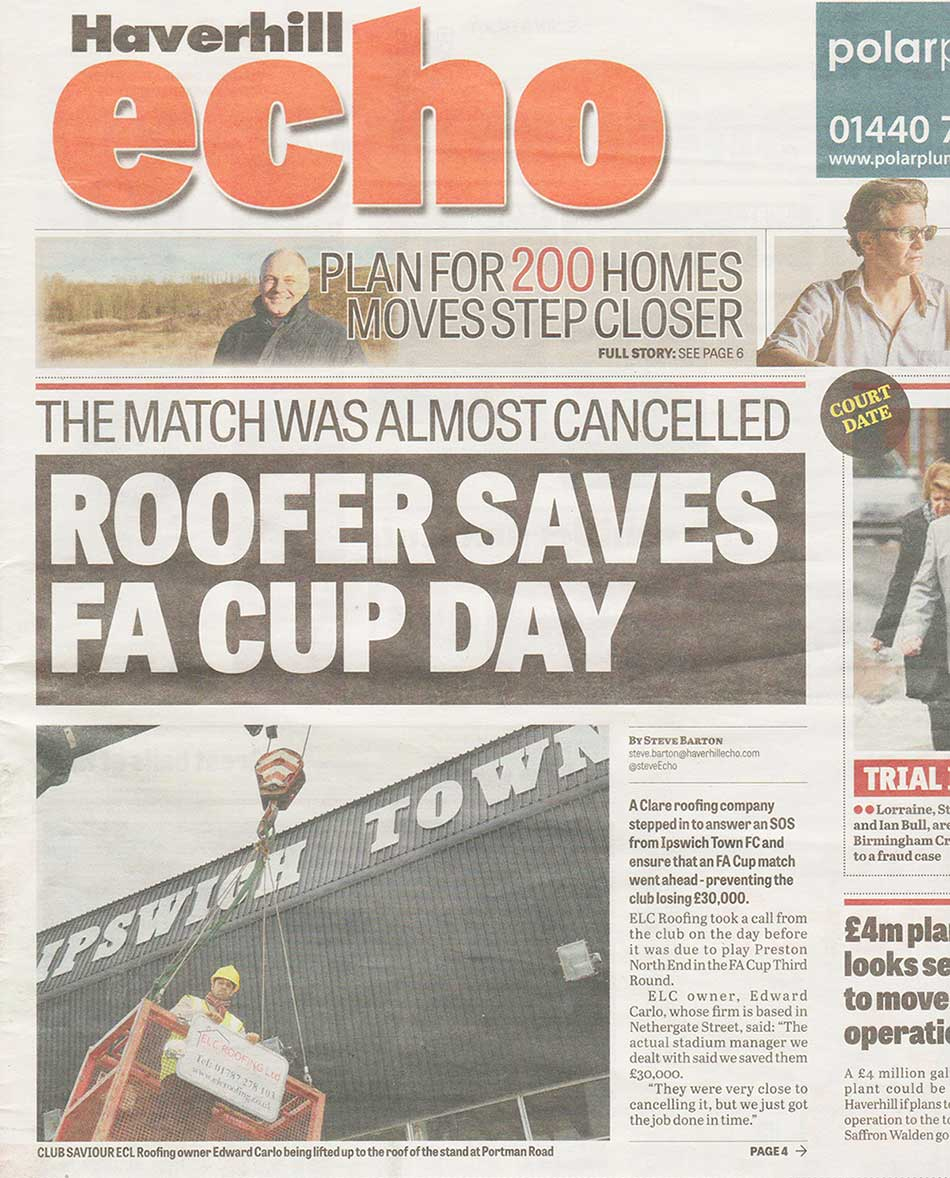 Roofer Saves FA Cup Day! - Ipswich Town Football Club