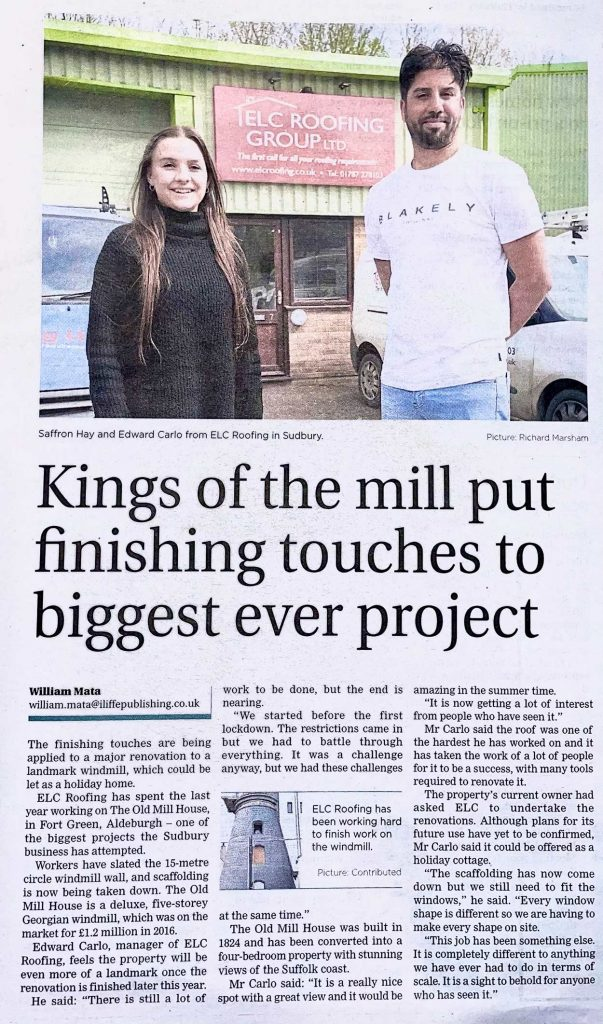 The Old Mill House, Aldeburgh - Windmill Roofing Project